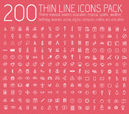 Set of thin line icons pictogram. For web and mobile infographic. Happy birthday, business, ofiice, digital, mobile, eco Stock Images