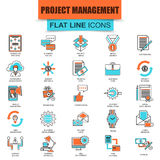 Set of thin line icons project management, business leadership. Modern mono flat linear concept pictogram, set simple outline icon, symbol for graphic and web Royalty Free Stock Images