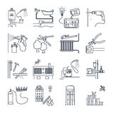 Set of thin line icons public utility, electricity, gas, water Royalty Free Stock Photography