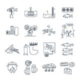 Set of thin line icons restaurant, cafe, kitchen, bar production. Process stock illustration