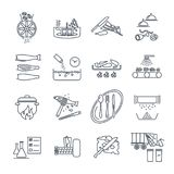 Set of thin line icons restaurant, cafe, kitchen production. Process vector illustration