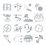 Set of thin line icons sea and air navigation, equipment Stock Image