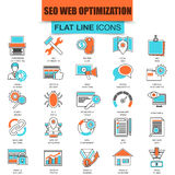 Set of thin line icons search engine optimization tools Royalty Free Stock Images