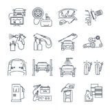 Set of thin line icons servicing, maintenance of car and auto Stock Image