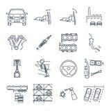 Set of thin line icons servicing, maintenance of car and automob. Set of thin line icons servicing, maintenance, repair of car and automobile Royalty Free Stock Photo