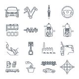 Set of thin line icons servicing, maintenance, repair of car. And automobile Stock Image