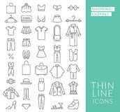 Set with thin line  icons on theme of shopping Stock Photography
