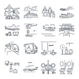 Set of thin line icons travel, tourism, transport, train Stock Photography