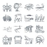 Set of thin line icons travel, tourism, transport, bus Royalty Free Stock Photography