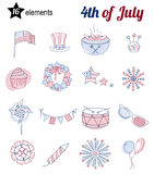 Set of thin line icons for USA Independence day. Set of thin line elements for USA Independence Day. Flat vector. Collection of icons for national holiday of Stock Image