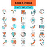 Set of thin line icons various business sing and symbols Stock Photography
