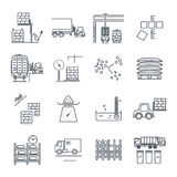 Set of thin line icons warehousing, storage of goods Royalty Free Stock Photo