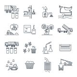 Set of thin line icons waste, garbage, refuse, sewage. Sewerage, recycling Royalty Free Stock Image