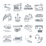 Set of thin line icons water transport and sea port, freighter. Set of thin line icons water transport and sea port, merchant shipping, tanker, freighter Royalty Free Stock Image