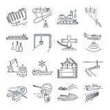 Set of thin line icons water transport and sea port, gas tanker. Overseas shipping Royalty Free Stock Image