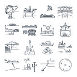 Set of thin line icons water transport and sea port, platform. Set of thin line icons water transport and sea port, oil platform, dry cargo ship, bulk carrier Stock Image