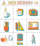 Set Thin Line Icons of Web Design Stock Images