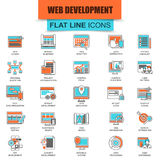 Set of thin line icons web design and development. Web coding, app programming and customization. Modern mono flat linear concept pictogram, set simple outline Stock Image