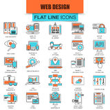 Set of thin line icons web design and development Stock Illustration