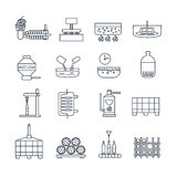 Set of thin line icons wine production Royalty Free Stock Images