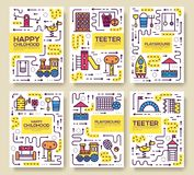Set of thin line kids pattern concept. Art playground field, magazine, book, poster, abstract, banners, element. Vector royalty free illustration