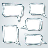 Set of thin line low polygon 3d abstract speech bubbles. Set of thin line low polygon 3d abstract bubbles. Speech balloons for talk in a form of prism. Vector Royalty Free Stock Photography
