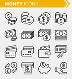 Set of thin line money icons. Stock Photos