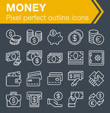 Set of thin line money icons. Stock Images