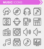 Set of thin line music icons. Stock Photos