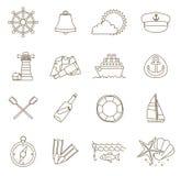 Set of thin line nautical icons Stock Image