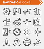 Set of thin line navigation icons. Pixel perfect icons for mobile apps and web design Stock Image