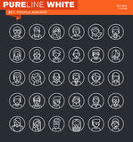 Set of thin line people avatars icons. Icons for website and mobile website and apps with editable stroke royalty free illustration