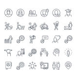 Set of thin line people icons. Thin line icons set for social media, marketing, online shopping, communication, social network, education, events, contact Stock Images
