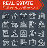 Set of thin line real estate icons. Pixel perfect trendy thin line icons for mobile apps and web design. Editable stroke Stock Image