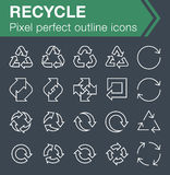 Set of thin line recycle icons. Pixel perfect trendy thin line icons for mobile apps and web design. Editable stroke Stock Photo
