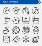 Set of thin line search engine optimization icons. Royalty Free Stock Image