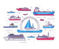 Set of thin line ship vector illustration. Ship thin line icons background Stock Image