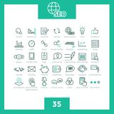 Set of 35 thin line simple  SEO icons. Pictograms for websites and mobile applications. Search engine optimization Stock Image