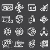Set of Thin Line Stroke Vector Bitcoin and Cryptocurrency Icons. Set of Thin Line Stroke Vector Bitcoin and Cryptocurrency Icons on Gray Background Stock Photo