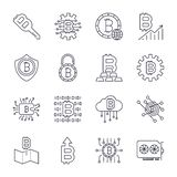 Set of Thin Line Stroke Vector Bitcoin and Cryptocurrency Icons. stock illustration