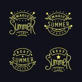 Set of thin line Summer labels. Magic Summer season. Best holiday. Set of Labels. Four thin line emblem with funny slogans. Vector design elements Stock Images