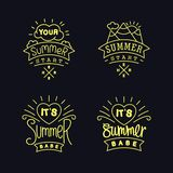 Set of thin line Summer labels. Set of simple Summer labels. Four thin line emblem design with funny slogans. Vector design elements Royalty Free Stock Image