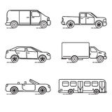 Set of thin line transportation icons. Collection transportation icons in thin line style. Various vehicles - car, truck, bus Stock Images