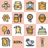 Set of thin line vector apiary bee and honey icons Royalty Free Stock Images