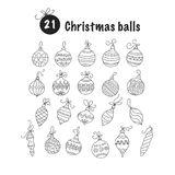 Set of thin line vector Christmas icons. Collection of Christmas balls for modern designs Stock Images