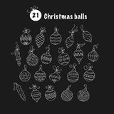 Set of thin line vector Christmas icons. Collection of Christmas balls for modern designs Stock Photography