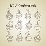 Set of thin line vector Christmas icons. Collection of Christmas balls for modern designs Royalty Free Stock Images