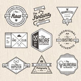 Set of thin line vintage badges, banners, label, ribbon and logo template vector for business and shop