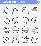 Set of thin line weather icons. Stock Photo