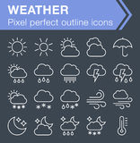 Set of thin line weather icons. Pixel perfect trendy thin line icons for mobile apps and web design. Editable stroke Stock Photography